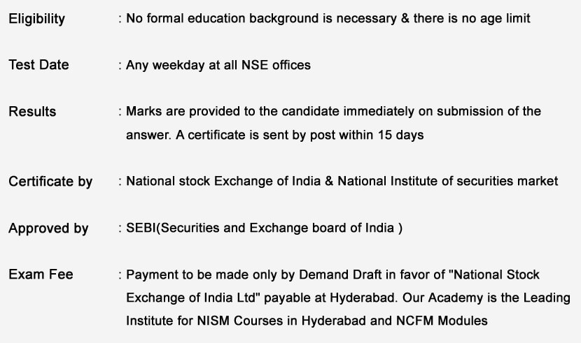 immediately for NISM Courses in Hyderabad and NCFM Modules