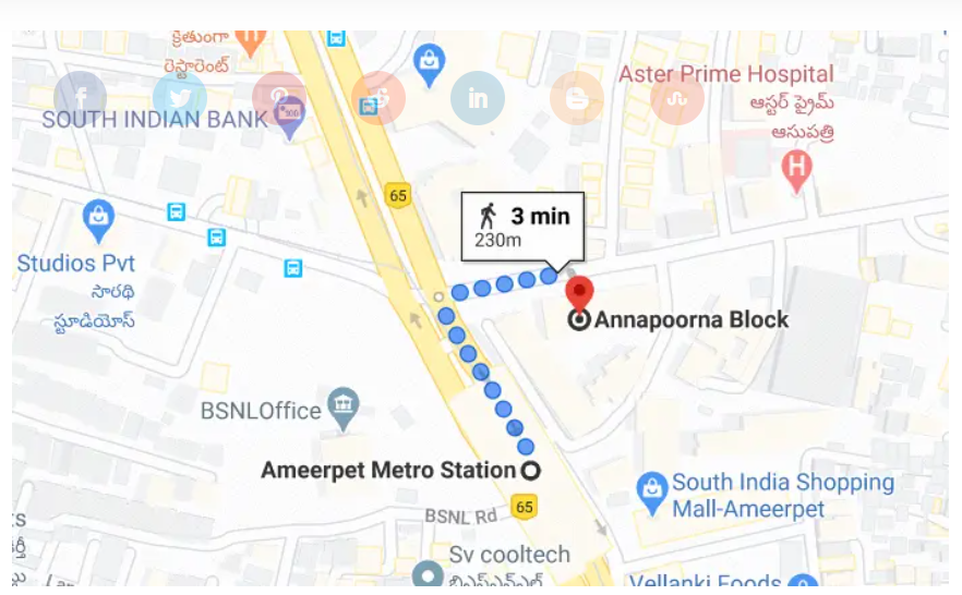 Directions to AS Chakravarthy ncfm academy hyderabad address from ameerpet metro station