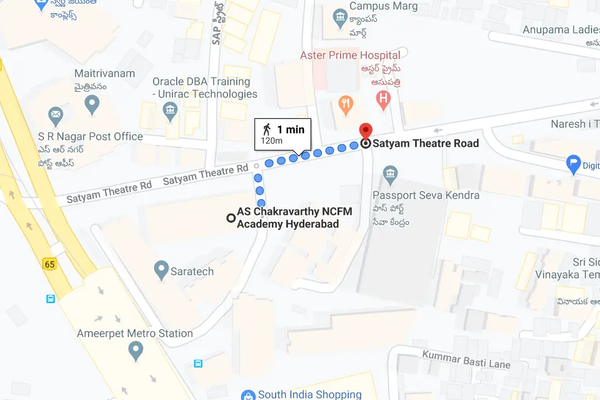 Directions to AS Charkavarthy NCFM academy Hyderabad from Satyam Theater Road