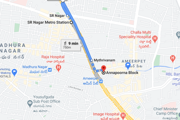 Directions from SR Nagar Metro Station to AS Chakravarthy NCFM Academy Hyderabad